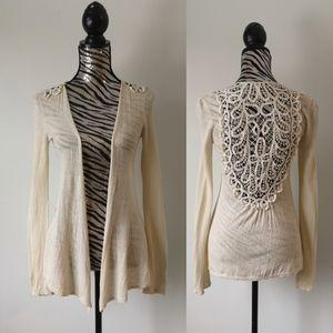 Anthropologie open front crochet linen cardigan